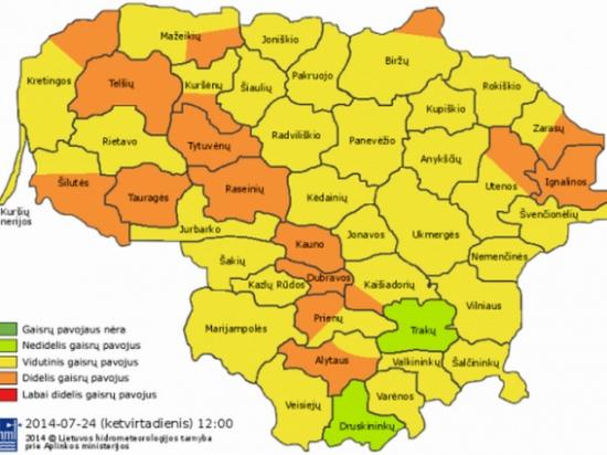 Miškų gaisringumas Lietuvoje liepos 24 d.