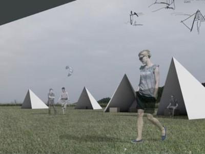 Projekto 'Kintai - vėjų krantas' autoriai Kintų pakrantėje siūlo pastatyti bures, primenančias trikampes palapines, kuriose galima pailsėti, pasidėti inventorių.