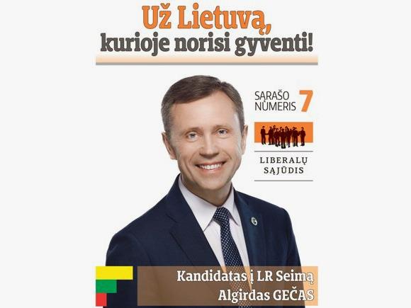Algirdas Gečas, Lietuvos Respublikos liberalų sąjūdžio kandidatas į Seimą Šilutės vienmandatėje rinkimų apygardoje.