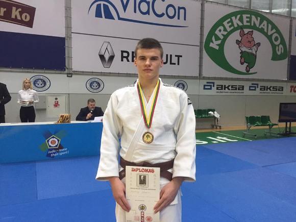 Lietuvos U-23 dziudo čempionate E. Sagalec iškovojo trečiąją vietą. (R. Lukošiaus nuotr.)