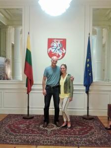 S. Zdanevičius su moksleive A. Norgėlaite, užėmusia antrąją vietą. (asmeninio archyvo nuotr.)