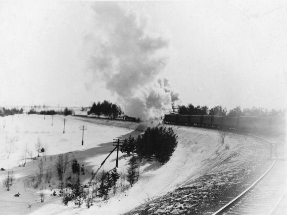Geležinkeliu per taigą. Krasnojarsko kr., apie 1950 m. (Lietuvos nacionalinio muziejaus nuotr.)