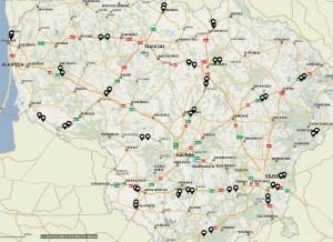 Sektorinių greičio matuoklių vietų žemėlapis.