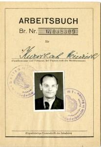 Heinricho Kuršaičio darbo knygelės antraštinis puslapis.