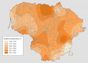 Lietuvos vandens telkinių temperatūros žemėlapis.