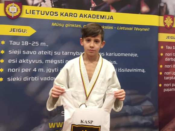J. Leškys, tarptautinio dziudo turnyro prizininkas. (R. Lukošiaus nuotr.)