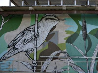 DEDIKACIJA. Ant vienos buvusios siurblinės sienos pavaizduota meldinė nendrinukė, ant kitos - ūkininkas. (VE.lt nuotr.)