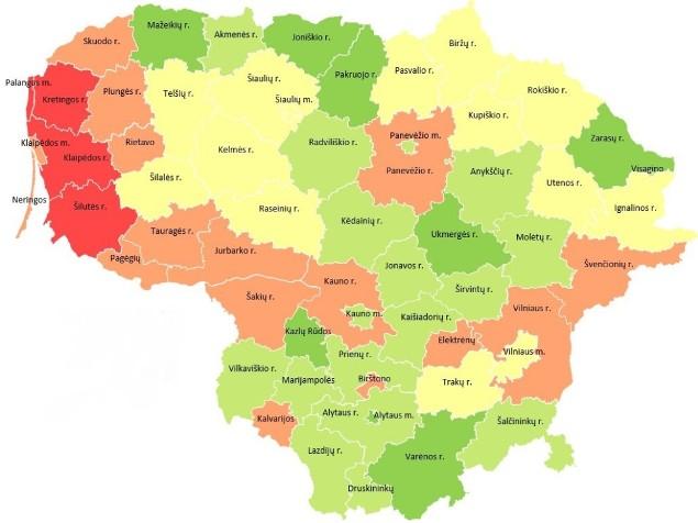 Lietuvos šių metų audrų žemėlapis.